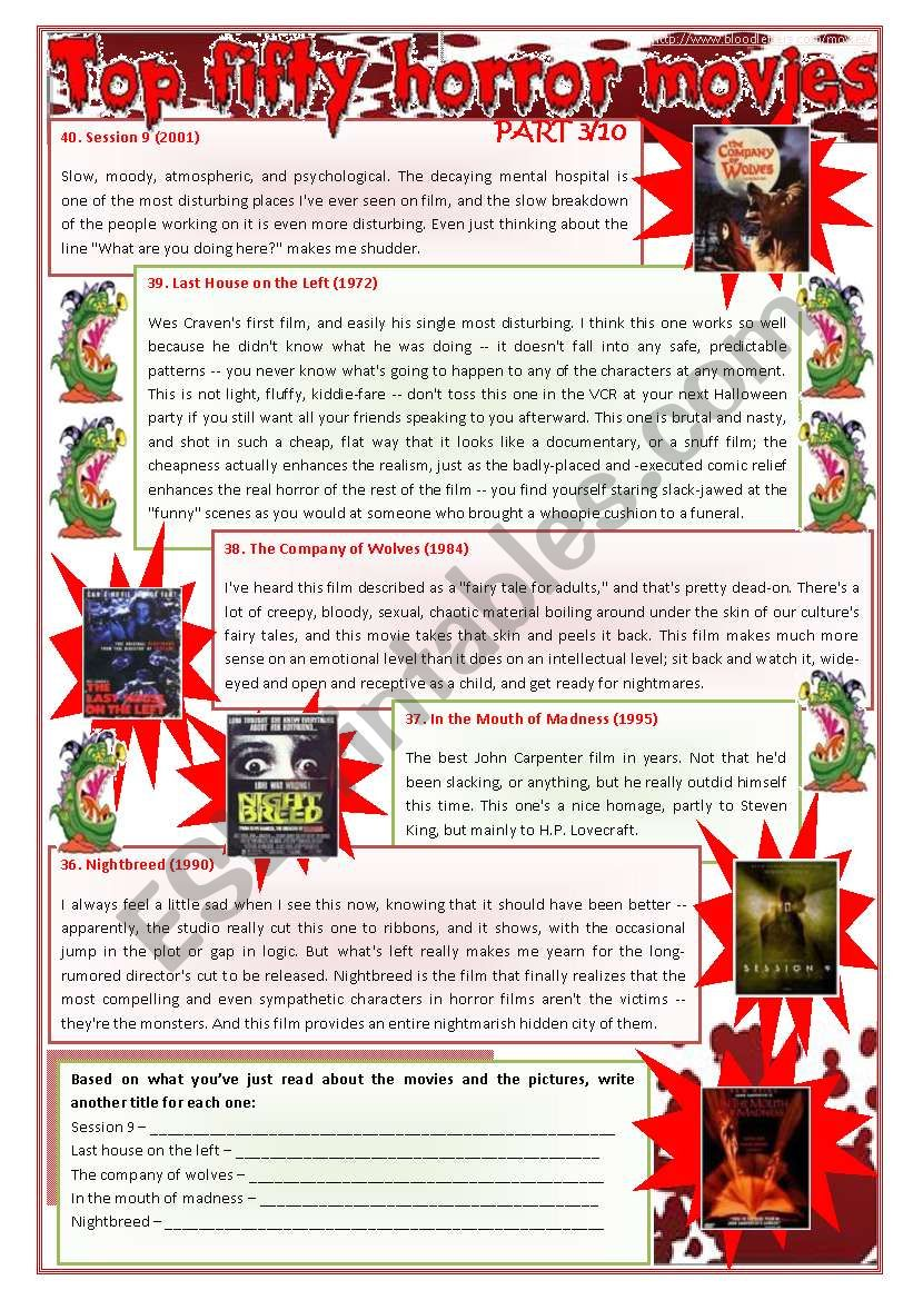 Top fifty horror movies (part 3/10) - writing, comprehension and zero conditional [3 pages] ***fully editable